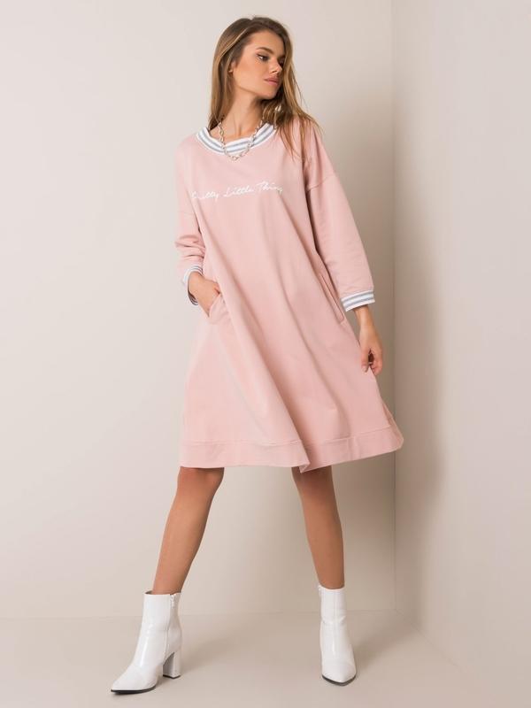 Różowa sukienka Sheandher.pl z bawełny z długim rękawem mini