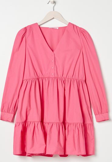 Różowa sukienka Sinsay mini z długim rękawem