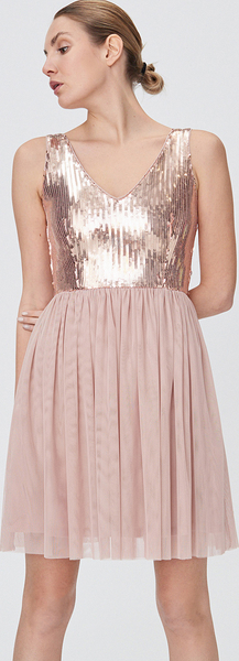 Różowa sukienka Sinsay mini z okrągłym dekoltem