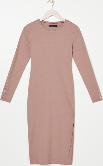 Różowa sukienka Sinsay w stylu casual z długim rękawem