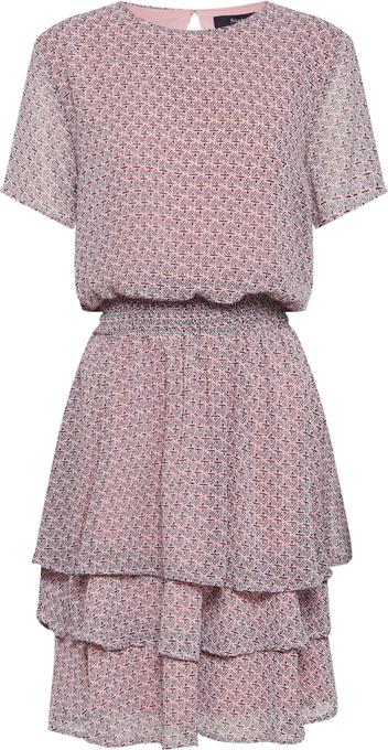 Różowa sukienka Sister'S Point z krótkim rękawem z okrągłym dekoltem