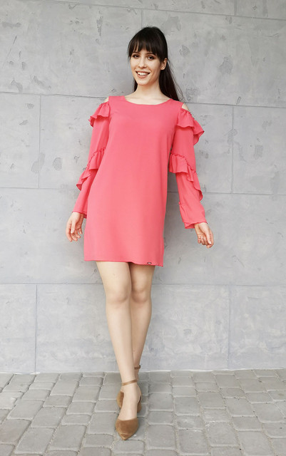 Różowa sukienka Sklepfilloo mini z długim rękawem