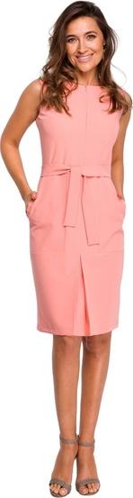 Różowa sukienka Style midi bez rękawów