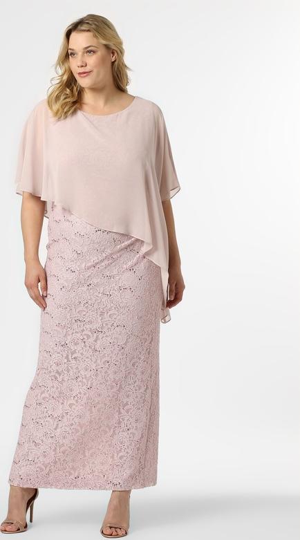 Różowa sukienka Swing prosta z szyfonu maxi