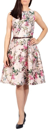 Różowa sukienka Ted Baker bez rękawów z okrągłym dekoltem