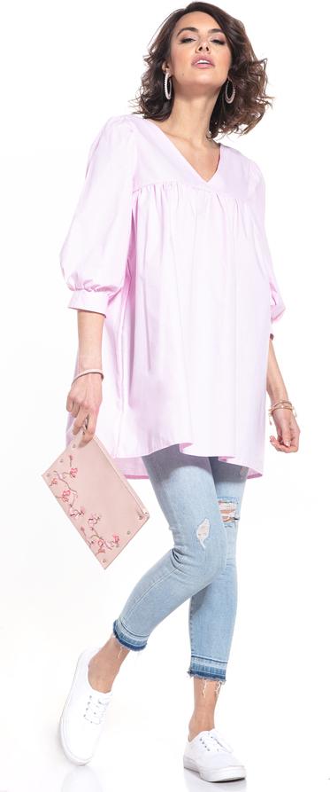 Różowa sukienka Tessita z dekoltem w kształcie litery v w stylu casual mini