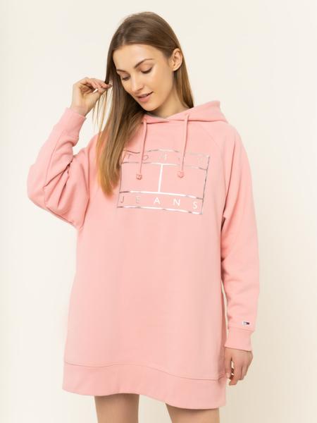 Różowa sukienka Tommy Jeans z długim rękawem w stylu casual z dekoltem w kształcie litery v