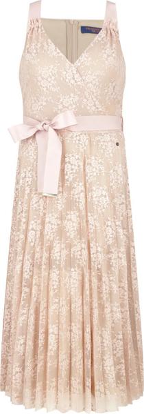 Różowa sukienka Trussardi Jeans z dekoltem w kształcie litery v
