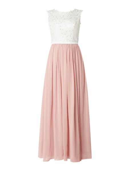Różowa sukienka Unique bez rękawów z satyny z okrągłym dekoltem