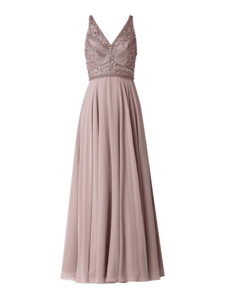 Różowa sukienka Unique z dekoltem w kształcie litery v w stylu glamour rozkloszowana