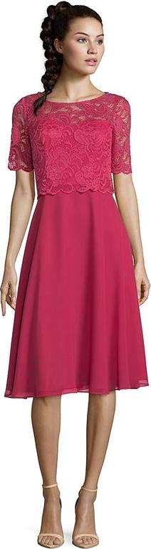 Różowa sukienka Vera Mont midi z dekoltem w łódkę