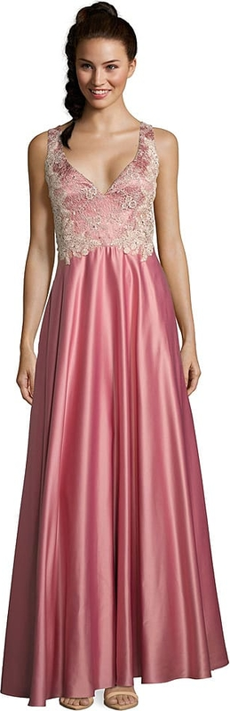 Różowa sukienka Vera Mont z dekoltem w kształcie litery v bez rękawów maxi
