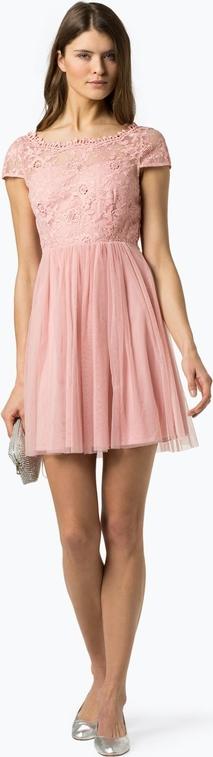 Różowa sukienka Vila z krótkim rękawem mini rozkloszowana