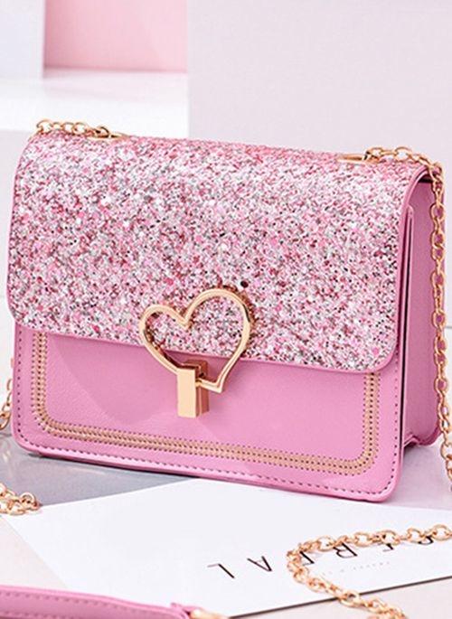 Różowa torebka Cikelly na ramię mała w stylu glamour