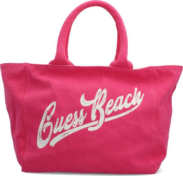Różowa torebka Guess lakierowana na ramię ze skóry