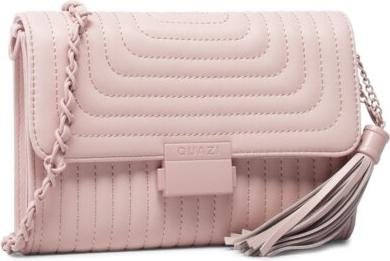 Różowa torebka Quazi pikowana z frędzlami średnia