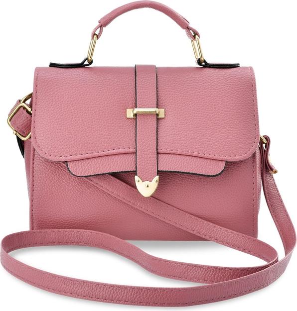 Różowa torebka world-style.pl na ramię ze skóry ekologicznej średnia