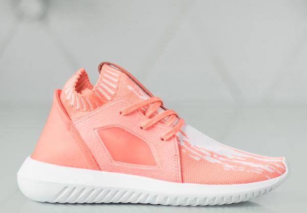 Różowe buty sportowe Adidas tubular na koturnie