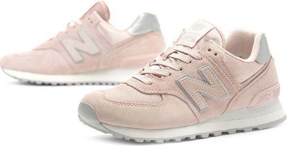 Różowe buty sportowe New Balance z zamszu z płaską podeszwą