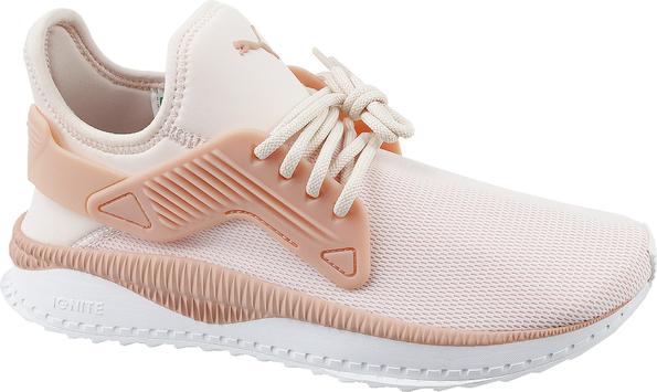 RÓżowe buty sportowe Puma sznurowane z płaską podeszwą Buty