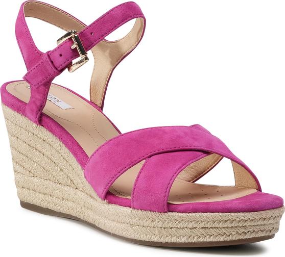 Różowe sandały Geox w stylu retro z tkaniny