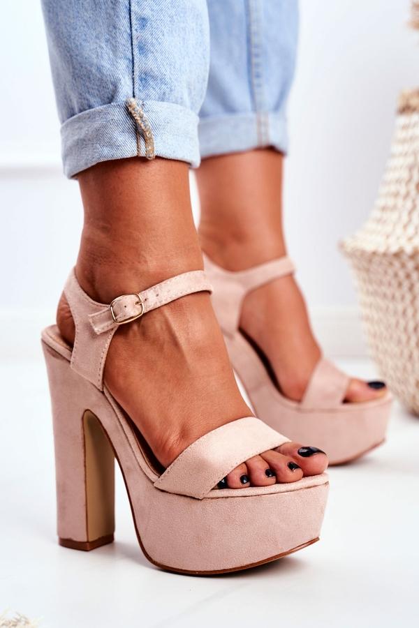 Różowe sandały Lu Boo z zamszu