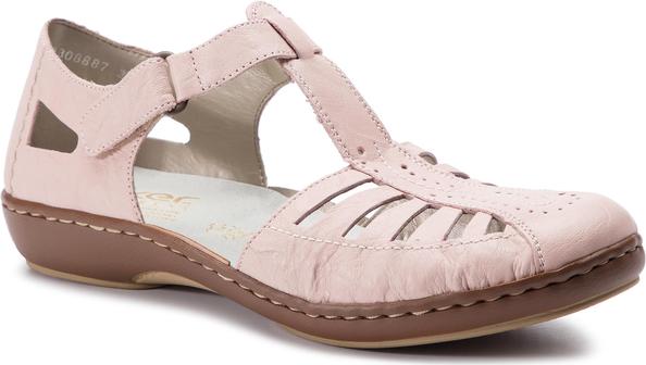 Różowe sandały Rieker w stylu casual ze skóry