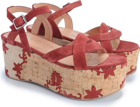 Różowe sandały Twinset z klamrami z zamszu