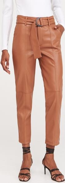 Różowe spodnie Reserved ze skóry w rockowym stylu
