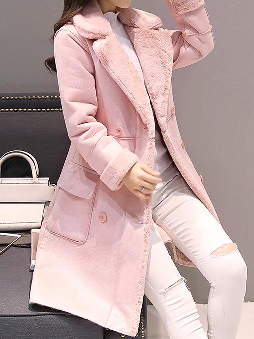Różowy płaszcz Elegrina z wełny w stylu casual
