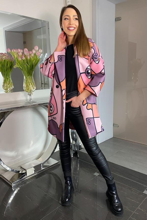 Różowy płaszcz Ella Boutique z tkaniny