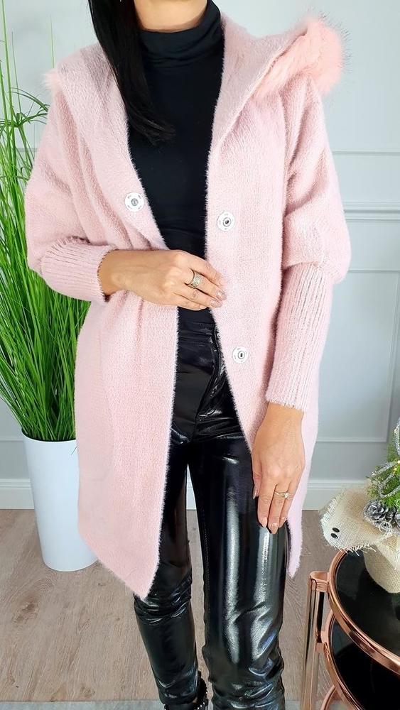 Różowy płaszcz Hypnotize Butik w stylu casual z wełny
