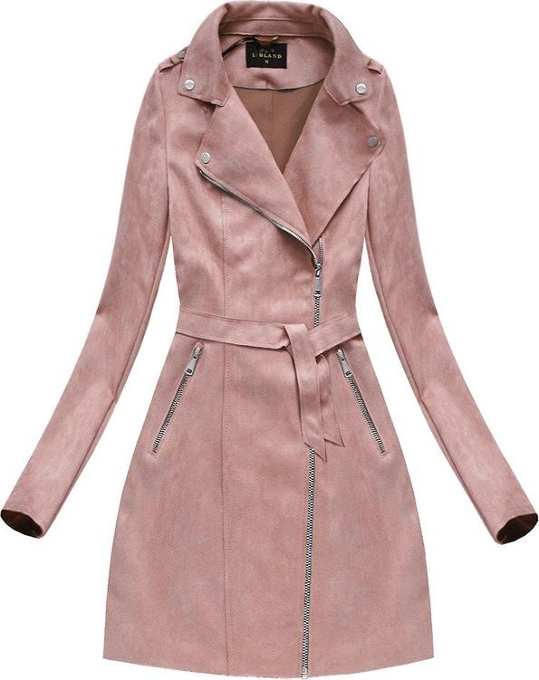 Różowy płaszcz Libland ze skóry ekologicznej