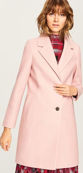Różowy płaszcz Reserved z wełny