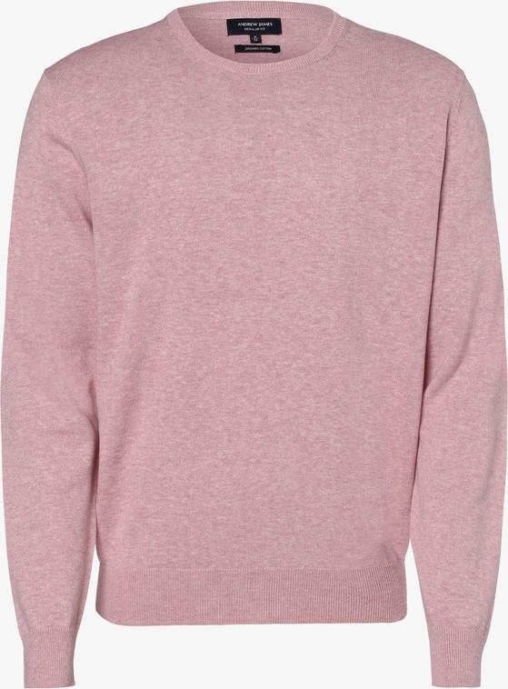 Różowy sweter Andrew James z bawełny