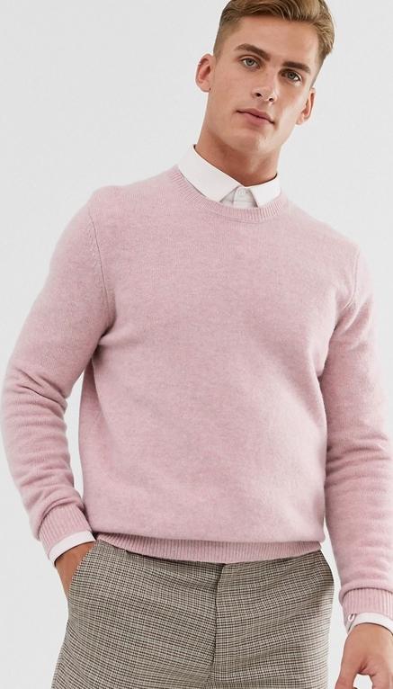 Różowy sweter Asos z wełny