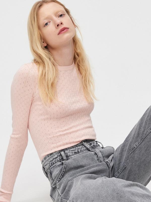Różowy sweter Cropp w stylu casual