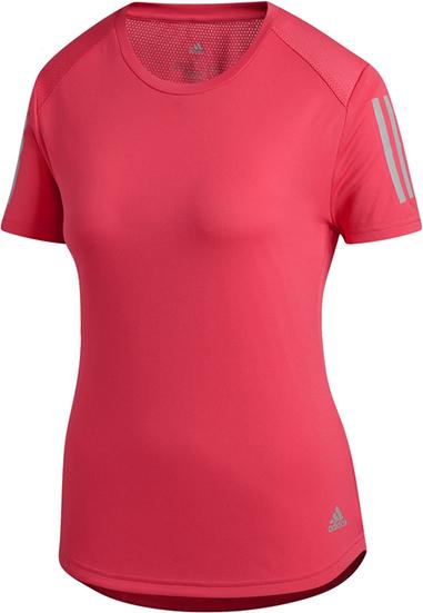 Różowy t-shirt Adidas z krótkim rękawem