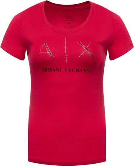 Różowy t-shirt Armani Jeans z krótkim rękawem z okrągłym dekoltem w stylu casual
