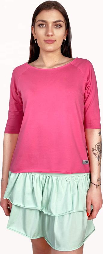 Różowy t-shirt Byinsomnia z okrągłym dekoltem