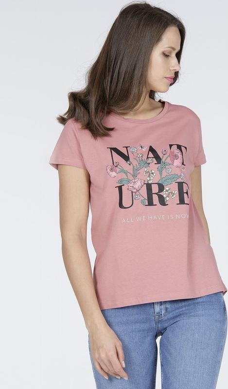 Różowy t-shirt Cross Jeans z bawełny z krótkim rękawem