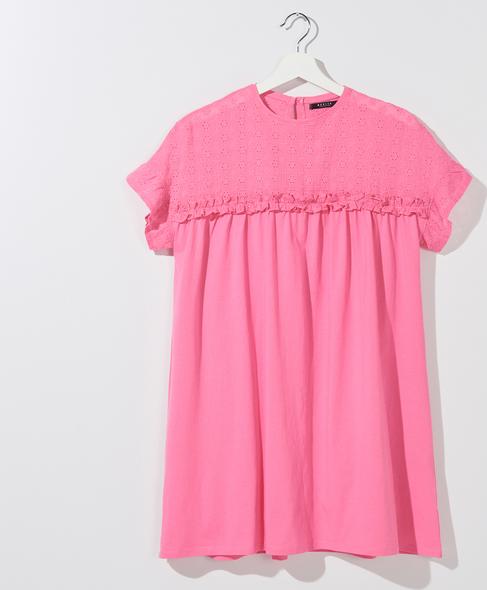 Różowy t-shirt Mohito z krótkim rękawem w stylu casual z okrągłym dekoltem