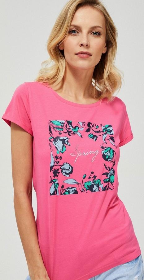 Różowy t-shirt Moodo z krótkim rękawem z bawełny z okrągłym dekoltem