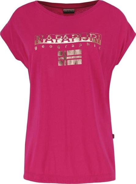 Różowy t-shirt Napapijri w młodzieżowym stylu z krótkim rękawem