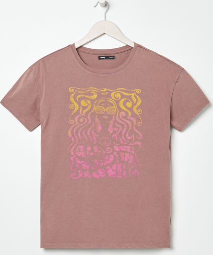 Różowy t-shirt Sinsay w młodzieżowym stylu z bawełny z krótkim rękawem