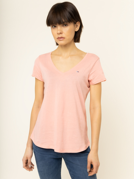 Różowy t-shirt Tommy Jeans z okrągłym dekoltem