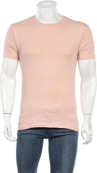 Różowy t-shirt ZARA w stylu casual z krótkim rękawem