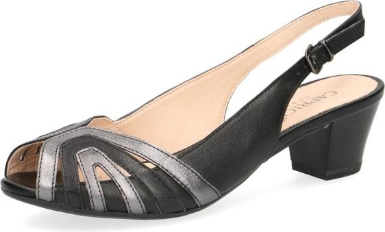 Sandały Caprice w stylu boho z tkaniny na obcasie