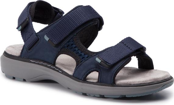 Sandały Clarks ze skóry z płaską podeszwą na rzepy