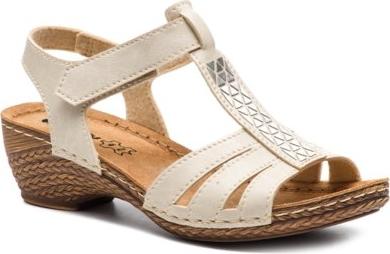 Sandały damskie Buty Inblu ze skóry ekologicznej na koturnie z niskim obcasem casual bez wzorów na rzepy